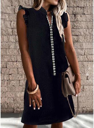 Solide/Met Kralen Mouwloos Shift Boven de knie Zwart jurkje/Casual Jurken