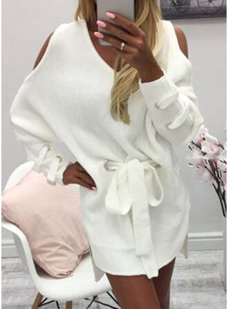 Solide Grof gebreid Cold Shoulder Casual Lang Sweaterjurk