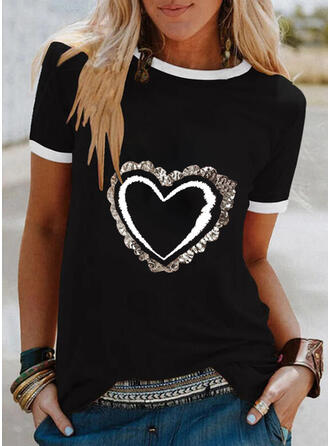 Hart Print pailletten Ronde Hals Korte Mouwen T-shirts