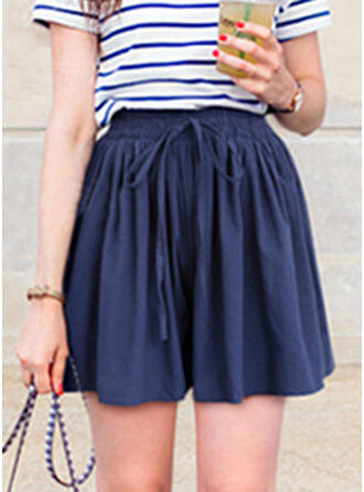 Shirred Grote maat Boven de knie Casual Elegant Shorts