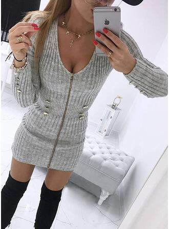 Solide V-hals Casual Lang Slanke Sweaterjurk