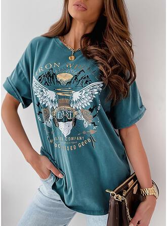 Figuur Bloemen Print Ronde Hals 1/2 Mouwen T-shirts