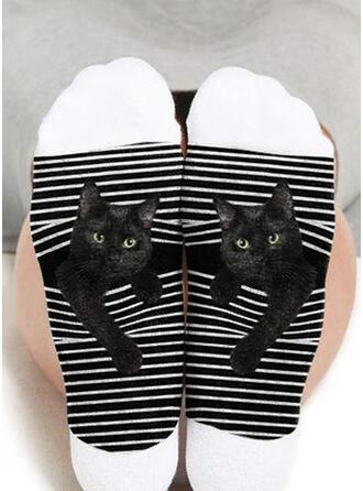 Dier/Print Ademend/Crew sokken/Zwarte kat/Unisex Sokken