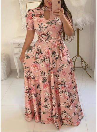 Grote maten Bloemen Print Korte Mouwen A-lijn-jurk Maximum Casual Vakantie Jurk
