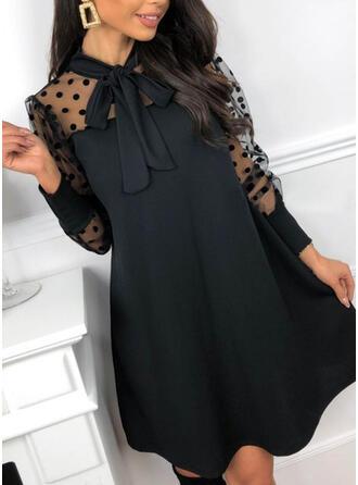 Solide/Nop Lange Mouwen/Pof Mouwen Shift Boven de knie Zwart jurkje/Feest Tunieken Jurken