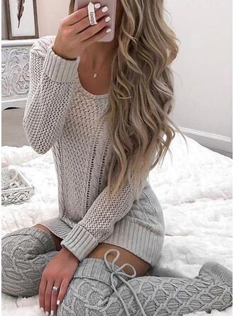 Solide Kabel-gebreid Ronde Hals Casual Sweaterjurk