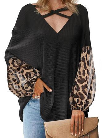 luipaard V-hals Lange Mouwen Casual Breiwerk Overhemd