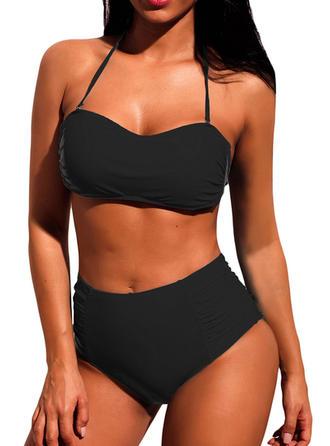 Effen kleur Hoge Taille Halter V-hals Sexy Klassiek Bikini's Badpakken