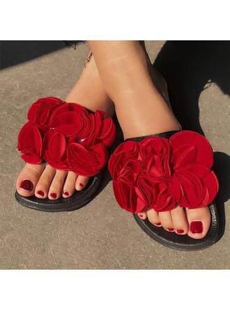 Vrouwen Kunstleer Flat Heel Sandalen Flats Peep Toe Slippers met Hol-out Bloem schoenen