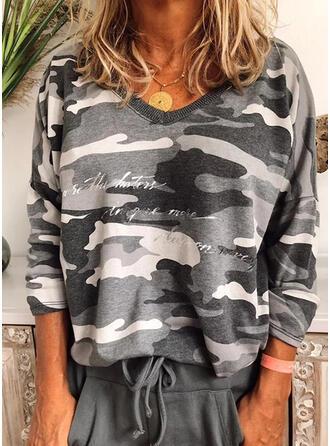 Print Figuur V-hals Lange Mouwen Casual T-shirts