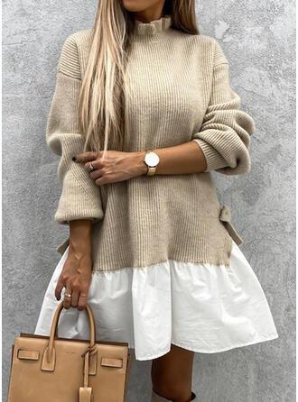 Kleurblok Opstaande Kraag Casual Lang Sweaterjurk