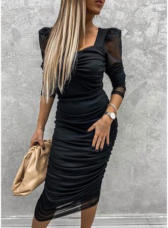 Solide Lange Mouwen/Pof Mouwen Bodycon Potlood Zwart jurkje/Feest Medium Jurken
