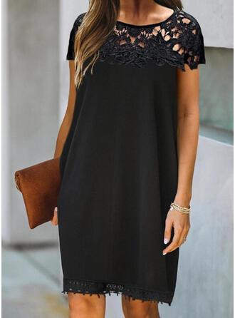 Kant/Solide Korte Mouwen Shift Boven de knie Zwart jurkje/Elegant Jurken