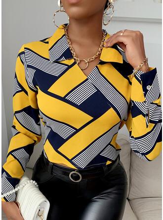 Print Revers Lange Mouwen Pailletten Overhemd
