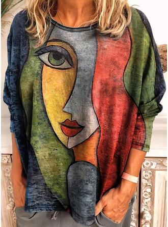 Print Ronde Hals Lange Mouwen T-shirts