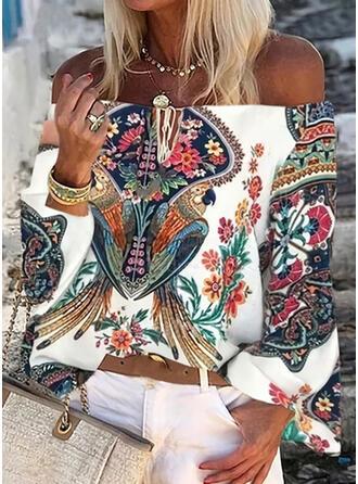 Print Bloemen Off the Shoulder Lange Mouwen Casual Overhemd