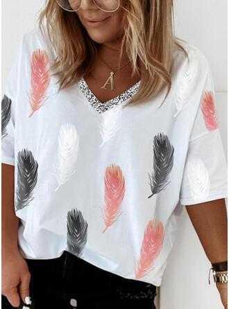 Print pailletten V-hals 1/2 Mouwen T-shirts
