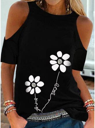 Print Bloemen Figuur Cold Shoulder Korte Mouwen Casual Overhemd