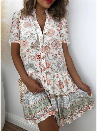 Print/Bloemen Korte Mouwen Shift Boven de knie Casual/Vakantie Shirt Jurken