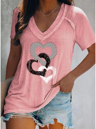 Hart Print V-hals Korte Mouwen T-shirts