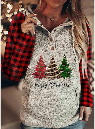 Print rooster Figuur Zakken Lange Mouwen Kerst Sweatshirt
