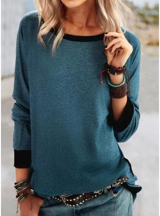 Solide Ronde Hals Lange Mouwen T-shirts
