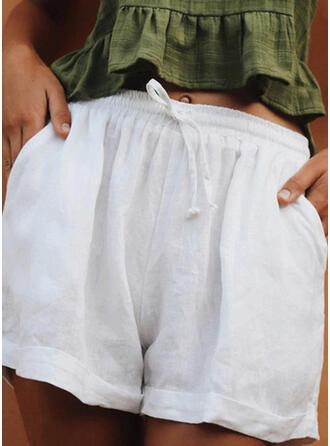 Solide Trekkoord Casual Gewoon Shorts