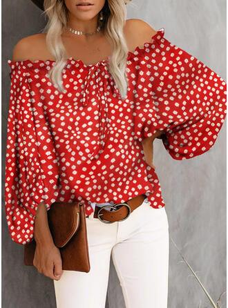 Print Bloemen Off the Shoulder 3/4 Mouwen Casual Overhemd