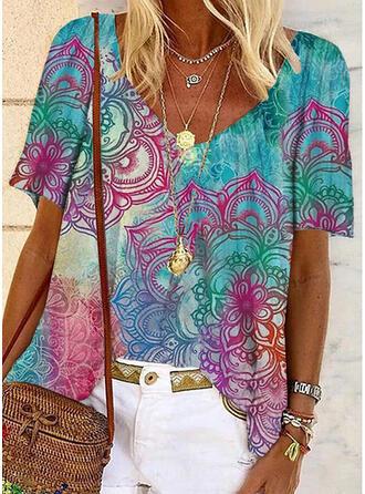 Print V-hals Korte Mouwen Casual Overhemd