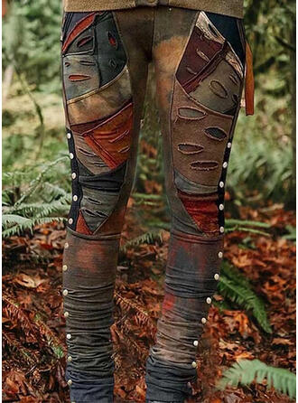 Zakken Shirred Grote maat Tie Dye Gescheurd Casual Tribal Leggings