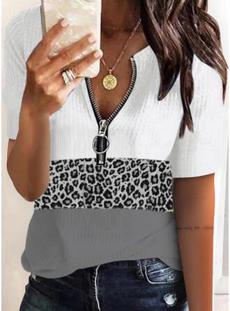 Kleurblok luipaard V-hals Korte Mouwen Casual Overhemd