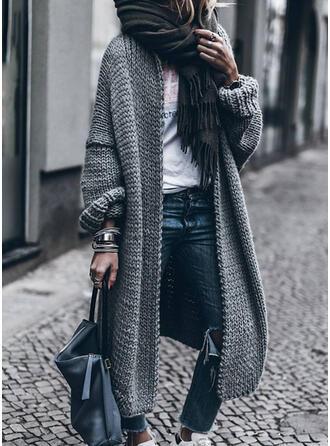 Polyester Katoen Lange Mouwen Effen kleur Wide-Waisted Jassen