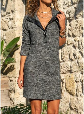 Solide Lange Mouwen Koker Boven de knie Zwart jurkje/Casual Jurken