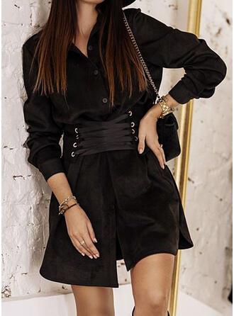 Solide Lange Mouwen A-lijn Boven de knie Zwart jurkje/Casual Shirt Jurken