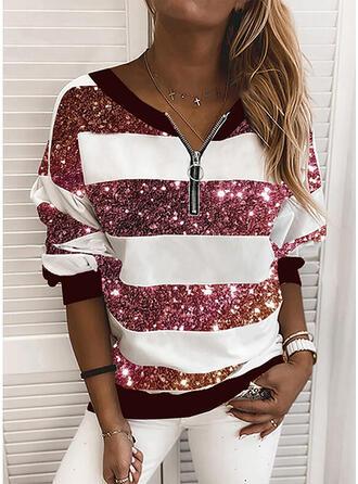 pailletten V-hals Lange Mouwen Sweatshirts