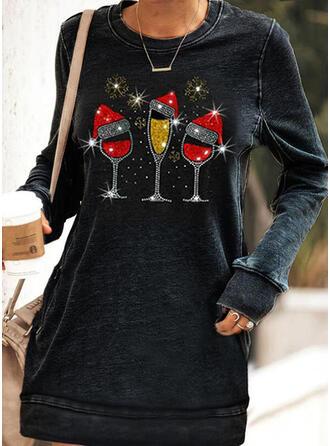 Pailletten Lange Mouwen Shift Boven de knie Kerstmis/Casual Sweatshirts Jurken