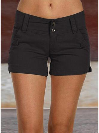 Zakken Shirred Grote maat Boven de knie Casual Sexy Solide Shorts