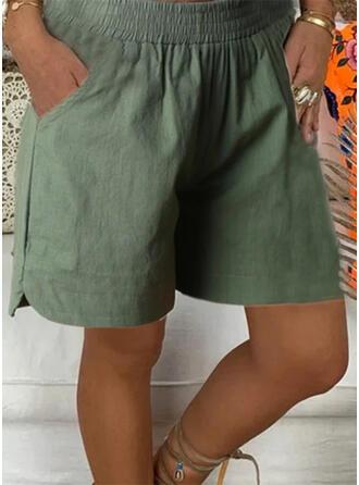 Zakken Shirred Grote maat Boven de knie Casual Solide sportieve Shorts