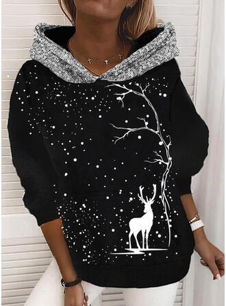 Dierenprint pailletten Lange Mouwen Kerst Sweatshirt