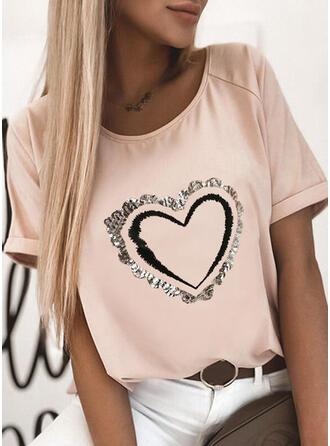 Hart Print Ronde Hals Korte Mouwen T-shirts