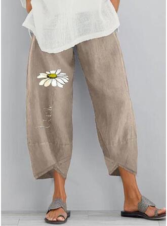 Print Zakken Shirred Grote maat Boho Casual Bloemen Broeken