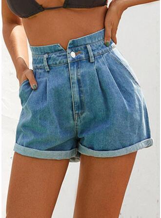 Zakken Shirred Boven de knie Casual Sexy Jean Shorts