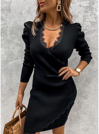 Kant/Solide Lange Mouwen/Pof Mouwen Bodycon Boven de knie Zwart jurkje/Feest/Elegant Trui Jurken