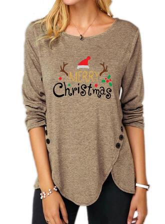 Print Figuur Ronde Hals Lange Mouwen Casual Kerstmis Overhemd