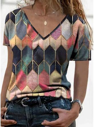 Geometrisch V-hals Korte Mouwen T-shirts