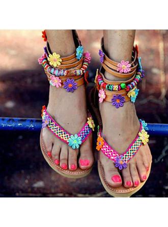 Vrouwen PU Flat Heel Sandalen Peep Toe Flip Flops met Hol-out Floral Print schoenen