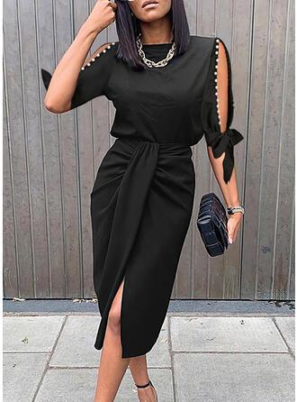 Solide/Met Kralen 1/2 Mouwen/Mouw met Split Koker Knielengte Zwart jurkje/Elegant Jurken