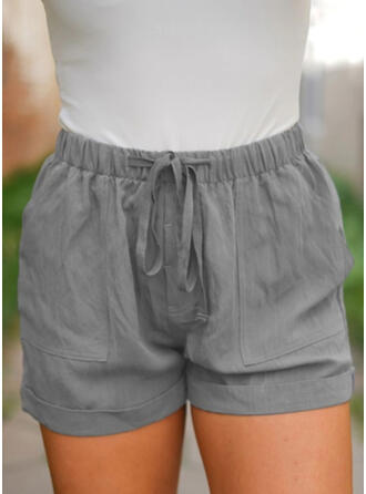 Solide Zakken Grote maat Boven de knie Boho Casual Shorts