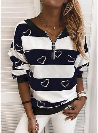 Print Color Block Hart V-hals Lange Mouwen Sweatshirts