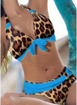 Luipaard push up V-hals Strapless Sexy Casual Bikini's Badpakken